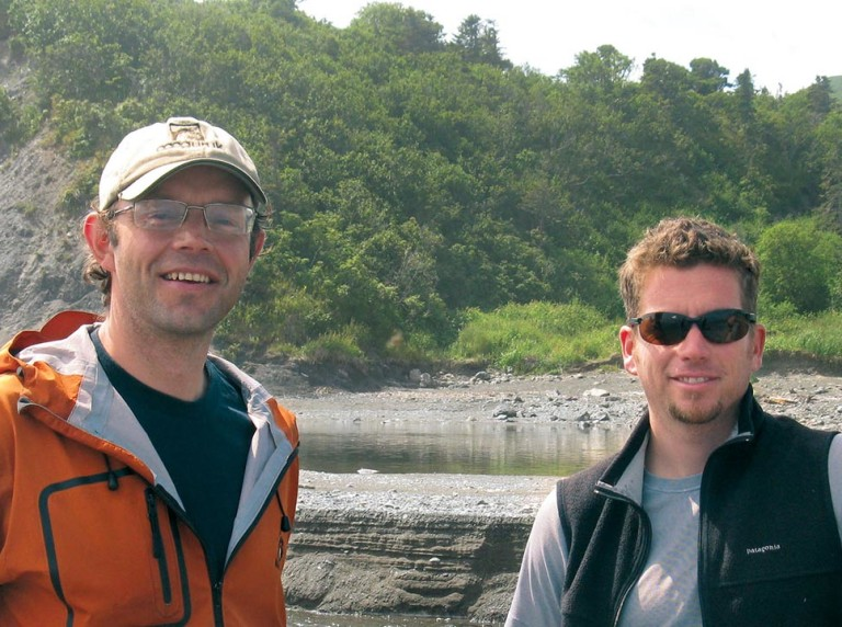 Dmitry Lisitsyn and Brian Caouette on the Vengeri River, Sakhalin, Russia