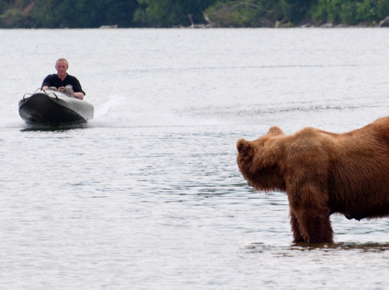 Mokai Boat and Bear in Kamchatka