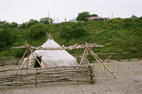 Traditional indigenous homes in Ust-Bolsheretsk, Russia