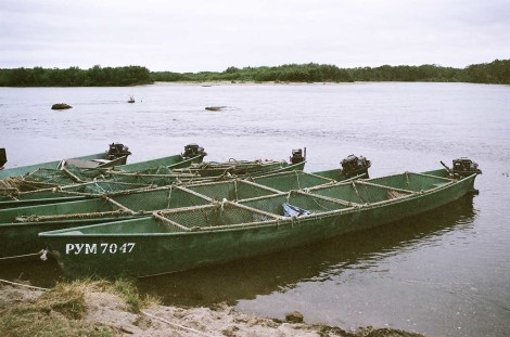 Fishing boats In the town of Ust-Bolsheretsk
