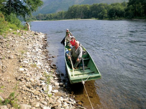 USFS restoration and forest fire prevention specialists on the Koppi River with guide.