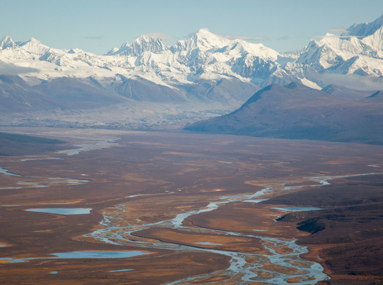 Susitna aerial showing Denali in the background