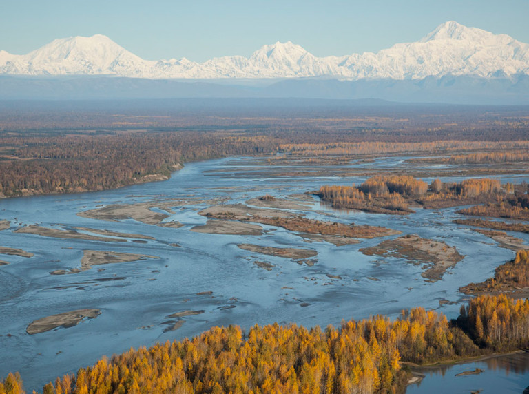 Susitna aerial with Denali in background