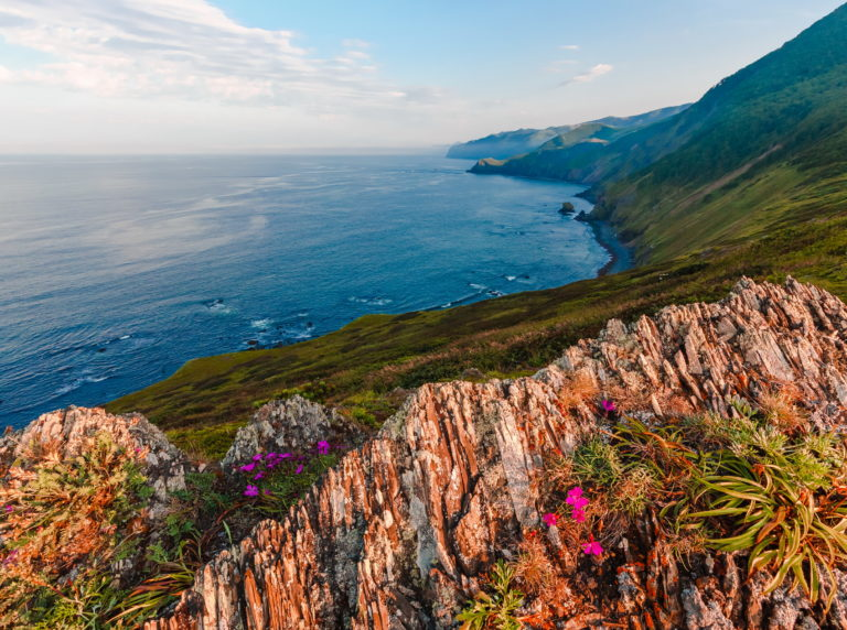 Coastal view from high in Russian Far East.